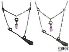 Restyle Broomstick Pentagram Purple Crystal Wicca Witch Metal Pendant Necklace