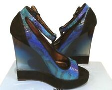 Lanvin $1,980 New Python Platform Wedge Lucite Heel Open Toe Pump (39EU)
