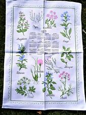 TORCHON CALENDRIER 2003 PLANTES AROMATIQUES THYM BASILIC CORIANDRE SAUGE ANETH