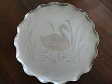 Vintage Round Aluminum Tray w/ Swan & Cattails - Scalloped Edges