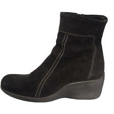 La Canadienne Brown Waterproof Suede Ankle Wedge Heel Boots Booties Womens Sz 6