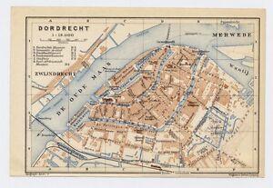 1910 ORIGINAL ANTIQUE CITY MAP OF DORDRECHT DORDT / NETHERLANDS HOLLAND