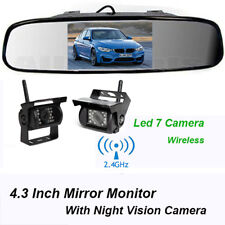 Wireless Backup Camera With 4.3''Rear View Mirror Monitor For Truck Trailer RV