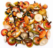 Assorted 50 pcs Handmade Painted Wooden Spinning Tops Toys Vintage India Craft