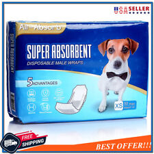 50 Pack Extra Small Waist Disposable Dog Diapers Male Wraps Belly Bands Pet Soft