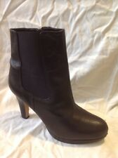 Clarks Black Ankle Leather Boots Size 6D