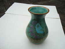 """HAND PAINTED EARTHENWARE SIGNED ART POTTERY VASE APPROX 6.25"""" TALL FISH DESIGN"""