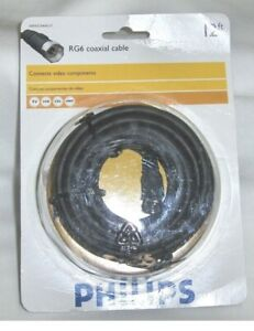 Coaxial RG6 Digital Video Cable HD TV Satellite Antenna Wire Black 12' ft New