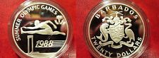1988 Barbados Large Silver Proof $20 Olympic Hurdles