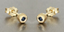 Studs Gold 585 Sapphire 4,5 mm Earrings Safir Yellow Gold 14 Carat