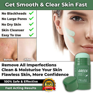 NEW GREEN TEA PURIFYING CLAY MASK STICK ANTI ACNE FRECKLE REMOVAL CREAM EGGPLANT