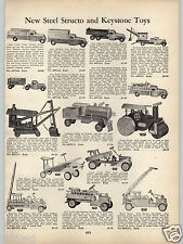 1938 PAPER AD Structo Keystone Toy Truck Locomotive Dump Water Fire Steam Roller