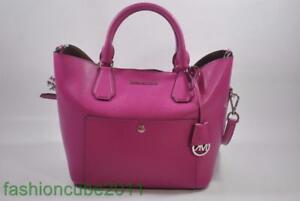 New MICHAEL KORS Greenwich Large Satchel Leather Grab Bag - Fuschia / Luggage