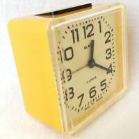 SLAVA Vintage Russian 11 Jewels Mechanical ALARM Clock Wind-Up СЛАВА USSR Yellow