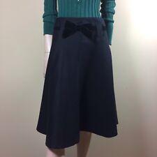 BELSTAFF Damen Rock M 38 Schwarz Wolle Schwingend Trend Fashion Skirt Schleife