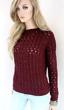 RINASCIMENTO pullover donna di maglia mix lana alpaca S M 36 38 BORDEAUX