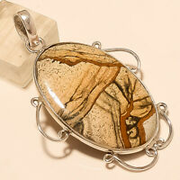 Natural American Picture Jasper Pendant 925Sterling Silver Handmade Fine Jewelry