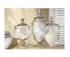 3 Piece Apothecary Jars Set Glass Wedding Buffet Table Floral Decor W/ Lid Candy