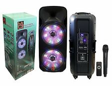 "Mr DJA USA DJ215BTA DUAL 15"" ACTIVE 3 WAY DJ SPEAKER WITH LED ACCENTS AND BT"