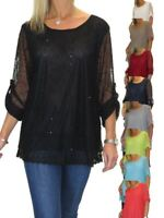ICE Plus Size Lined Netting Top, Sequin Detail Evening Party 12-22