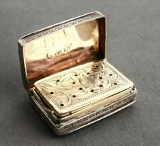 RARE 1829 Antique British Vinaigrette Sterling Silver Box Signed Edward Smith