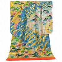Uchikake Kimono Silk Synthetic Fiber Japanese Wedding Robe Crain Wave Blue Gold