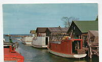 "Leland MI Fishing Docks ""Fishtown"" Postcard 1950s"