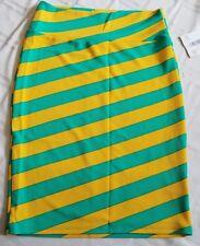 New Lularoe Cassie Skirt Large Teal Yellow Diagonal Big Stripes