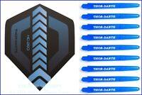 THOR-DARTS 150 micron F1 Flights blau + Schäfte, blue darts flights + Shafts fly