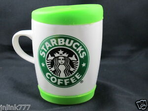 New Starbucks Ceramic Coffee Mug  with Green Silicone Lid