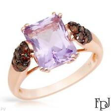 New FPJ 14k Rose Gold Ring w/ Genuine Amethyst & Diamonds, 3.63 cwt, Size 7