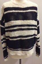 New Look Ladies Blue White Stripe Jumper Size 10 Bretton Textured Long Sleeves