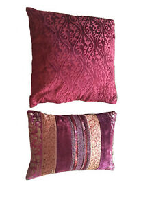 Gypsy Boho decorative red 2 pillows Baroque Velvet And Multi Stripe With Sequins