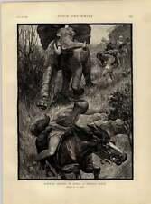 1892 Elefante caza en África una peligrosa situación dibujado por H Dixon