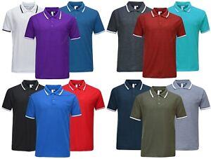 Mens Short Sleeve Polo Shirt Plain Pique Single/Double Tipping Collar M - 6XL