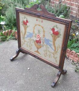 Antique Wooden Oak Needlepoint Embroidery Firescreen 66 x 71 cms