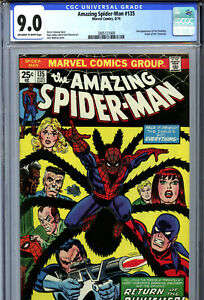 Amazing Spider-Man #135 (1974) Marvel CGC 9.0 OW/W 2nd Appearance of Punisher!