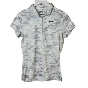 Nike Golf Dri-Fit Womens Size Medium White Gray Camo 1/2 Button Up Golfing Polo