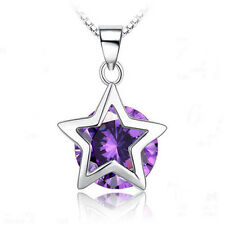 New Women's Silver Plated Purple Star Necklace Pendant Jewellery Gift Wedding