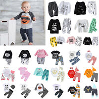 Newborn Baby Boys Girls Tops Romper  Bodysuit Jumpsuit Pants Outfits Clothes Set