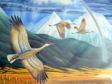 Landscapes of the Mind Signed Framed Print Sandhill Cranes Flying M. Dolack 1991