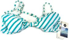 Roxy Bikini Top Bathing Suit Angel Bra Top Turqoise / White Striped Large - NWT