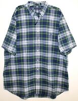 Polo Ralph Lauren Big Tall Mens Green Blue Plaid S/S Button-Front Shirt NWT 2XB