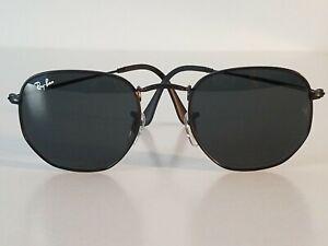 Ray-Ban RB3548 51MM Hexagonal Unisex Sunglasses Black Frame/ Black Flat Lens