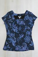 Croft & Barrow Women's Sz M Medium Short Sleeve Square Neck Top Blue Floral