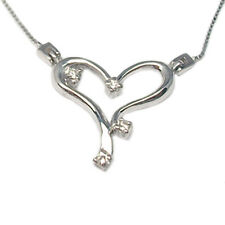 Women's neclace with diamonds white gold 18 kt. choker with heart