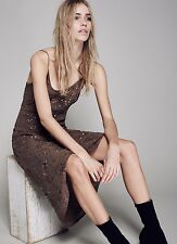 Jen's Pirate Booty brown Sequin Beaded Crepe Maxi Dress form skimming L NEW