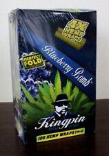 Kingpin Hemp Wraps Blueberry Bomb 25 Packs~4pk = 100 total~Factory Sealed