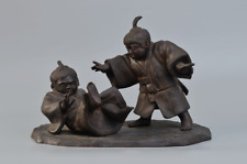 "Japanese Antique Bronze Sculpture Statue Sumo Boys 17"" Meiji Period"