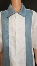 Steve Harvey Linen Short Sleeve Button White Blue Shirt Size 6XL Pre Owned